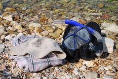Snorkel and mask, Meganissi Stock Images