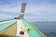 Snorkel Masker op de Boot Royalty-vrije Stock Afbeeldingen