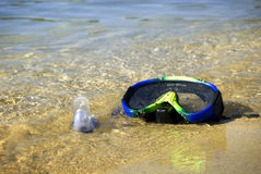 Snorkel op het strand Stock Afbeelding