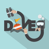 Snorkel And Oxygen Tank In Hand With Diver Typography Design Royalty Free Stock Photography