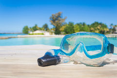 Snorkel scuba mask on the beach. Royalty Free Stock Photos