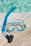 Snorkel scuba mask on the beach. Royalty Free Stock Images