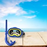Snorkel. Scuba mask diving equipment blue two objects directly above high angle view Royalty Free Stock Image