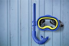Snorkel. Scuba mask diving equipment blue two objects directly above high angle view Royalty Free Stock Images