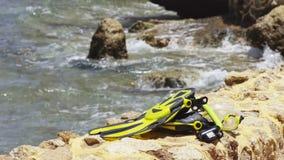Snorkel set on seashore background stock footage