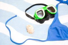 Snorkel, shell and bikini Stock Photo