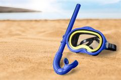 Snorkel. Scuba mask diving equipment blue two objects directly above high angle view Royalty Free Stock Photos