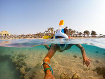 Snorkel swim in shallow water with coral fish, Red Sea, Egypt. Snorkel swim in underwater exotic tropics paradise with fish and coral reef, beautiful view of Royalty Free Stock Image