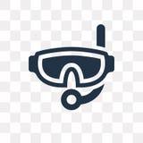 Snorkel vectordiepictogram op transparante achtergrond wordt geïsoleerd, snorkel stock illustratie