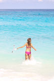 Snorkel Woman. Running at the Tropical Beach Royalty Free Stock Photo