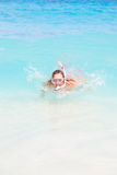 Snorkel Woman Floating Stock Photos
