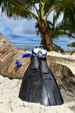 Snorkelend Materiaal op het Strand stock foto's