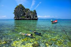 Snorkelend, Mooie overzeese mening stock foto's