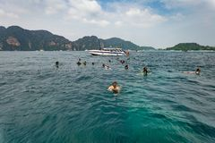 Snorkelend in Phuket, Thailand Het Overzees van Andaman Stock Fotografie