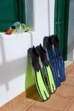 Snorkelende apparatuur. Canarische Eilanden, Lanzarote. Royalty-vrije Stock Afbeelding