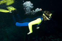 Snorkeler. A woman is underwater and blowing the air from her snorkel tube. Her vibrant yellow fins, mask and sleeves stand out well against the black background Royalty Free Stock Photography