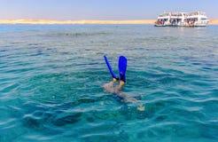 Snorkeler diving below the sea Royalty Free Stock Photos