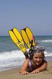 Snorkeler. Girl posing on a beach wearing snorkeling equipment Stock Image