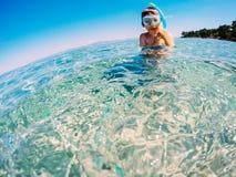 Snorkeler i semester Arkivbild