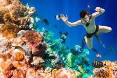 Snorkeler Maldives Indian Ocean coral reef. Stock Images