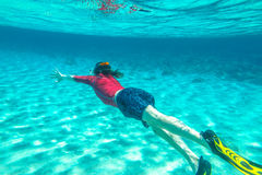 Snorkeler male swimming Royalty Free Stock Images