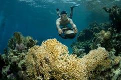 Snorkeler op onderwaterautoped Stock Foto