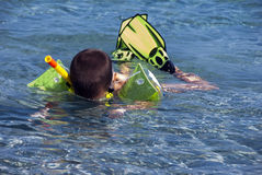 Snorkeler pojke Arkivbild