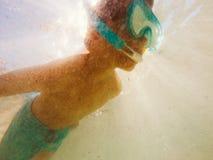 Snorkeler portrait underwater Royalty Free Stock Image