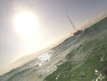 Snorkelers view from the waters  of cancun Mexico Stock Images