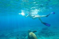 Snorkeler with sea turtle. Bikini woman swims with sea turtle Caretta in crystal waters of Foneas Beach, Kardamili, Mani peninsula, Greece. Watersport activity Royalty Free Stock Images