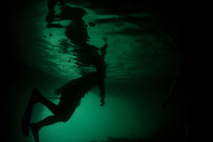 Snorkeler in Submerged Cave Stock Photos