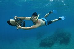 Snorkeler on underwater scooter Royalty Free Stock Images