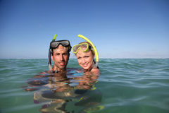 Snorkelers in acqua Immagine Stock Libera da Diritti
