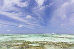 Snorkelers in La Digue, Seychelles Stock Photo