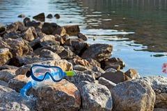 Snorkeling маска на море Стоковое фото RF