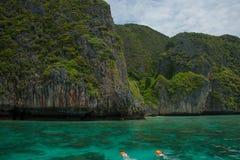 Snorkeling на острове кораллового рифа Стоковое фото RF