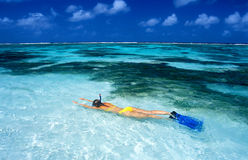 Snorkeling. Woman at La Digue Stock Photography