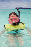 Snorkeling. Young girl in snorkeling gear, St. John stock photos