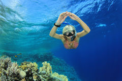 Snorkeling. Beautiful Woman snorkeler dives over a coral reef in clear blue Sea Royalty Free Stock Photo
