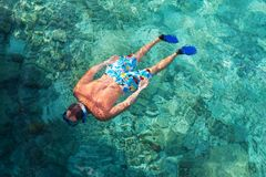 Snorkeling. Man on Maldives beach Stock Photography