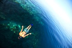 Snorkeling. Man on Maldives reef Stock Image