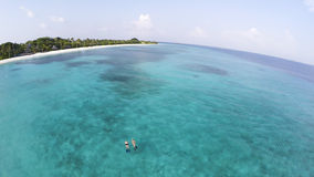 Snorkeling in amazing turquoise water on paradise island Stock Photography