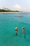 Snorkeling in amazing turquoise water on paradise island Stock Photo