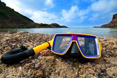Snorkeling on the beach Royalty Free Stock Photography
