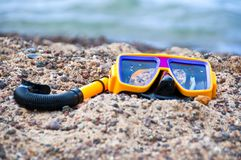 Snorkeling on the beach Royalty Free Stock Image