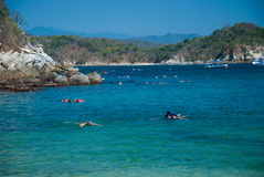 Snorkeling at a beach. Huatulco, Oaxaca, Mexico Stock Image