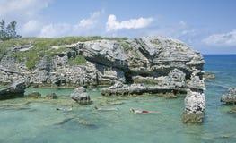 Bermuda Snorkeling Diving. Children  snorkeling at Tobacco Bay, Bermuda Royalty Free Stock Images