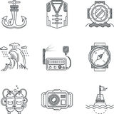 Snorkeling black line icons Royalty Free Stock Images