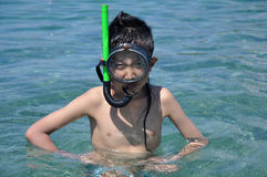 Snorkeling boy Royalty Free Stock Image