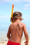 Snorkeling boy on the beach Royalty Free Stock Photos